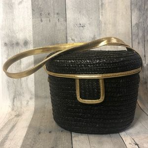 Black & Gold Basket Weave Shoulder Bag